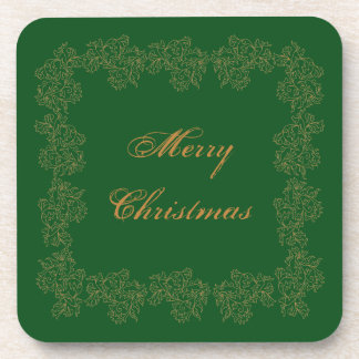 """""""Merry Christmas"""" Decorative Green Gold Drink Coaster"""
