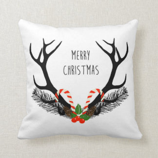 Merry Christmas - Deer Antlers - Throw Pillow