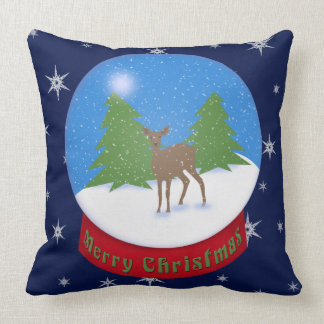 Merry Christmas! | Deer Snow Globe Cushion