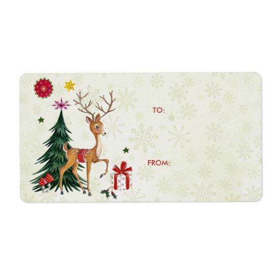 Merry Christmas Deer & Trees | Gift Labels
