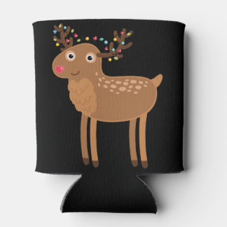 Merry Christmas Deer with Garland Can Cooler