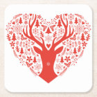 Merry Christmas, deer with red heart Square Paper Coaster