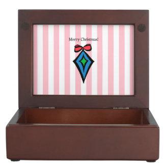 Merry Christmas Diamond Ornament Keepsake Box Pink