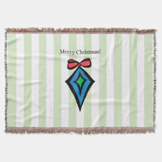 Merry Christmas Diamond Ornament Throw Blanket GRN