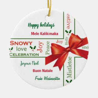 Merry Christmas different languages Ceramic Ornament
