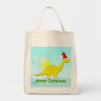 Merry Christmas Dinosaur Yellow Dino Bag/ Tote Grocery Tote Bag