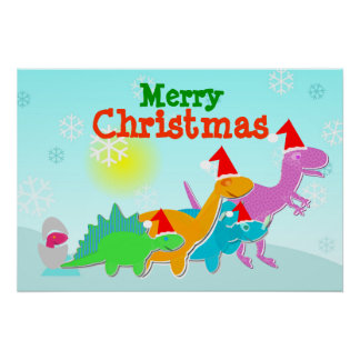 Merry Christmas Dinosaurs Poster