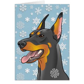 Merry Christmas Doberman Dog Customisable Card