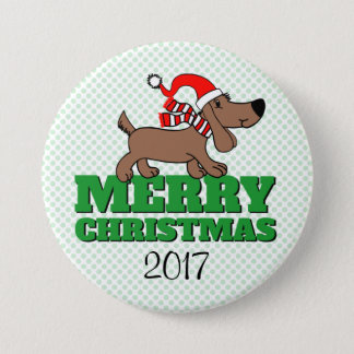 Merry Christmas Doggie Large, 3 Inch Round Button