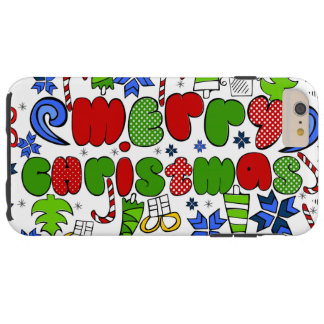 """""""Merry Christmas"""" doodle kid's drawning style Tough iPhone 6 Plus Case"""