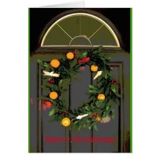 Merry Christmas Door Wreath greeeting card