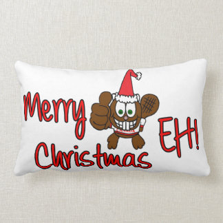 Merry Christmas Eh! Beaver Throw Pillow