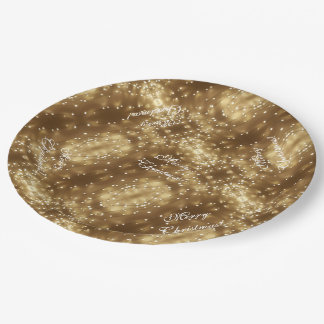 Merry Christmas Elegant Festive String of Lights Paper Plate