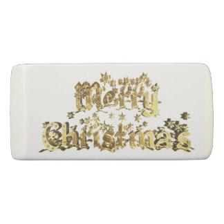 Merry Christmas Elegant Gold Star Typography Eraser