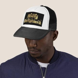 Merry Christmas Elegant Gold Stars Typography Trucker Hat
