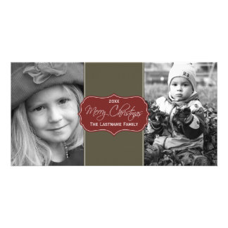 Merry Christmas - Elegant Script 2 Pictures Photo Cards