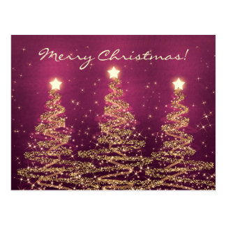 Merry Christmas Elegant Sparkling Trees Pink Postcard