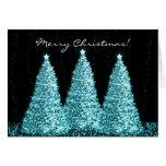 Merry Christmas Elegant Turquoise Sparkle Trees Greeting Card