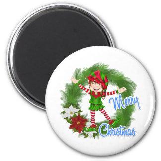 Merry Christmas Elf 6 Cm Round Magnet