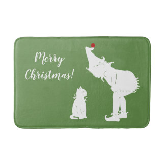 Merry Christmas Elf and Cat Bath Mat