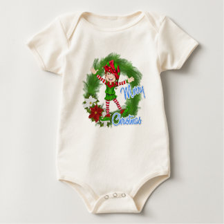 Merry Christmas Elf Baby Bodysuit