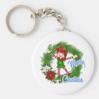 Merry Christmas Elf Basic Round Button Key Ring