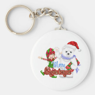Merry Christmas Elf Bear Basic Round Button Key Ring