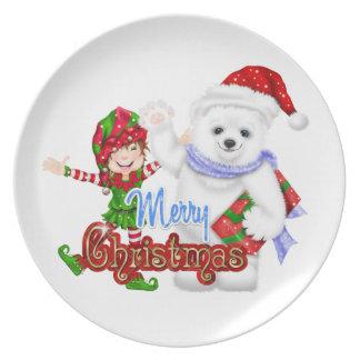 Merry Christmas Elf Bear Dinner Plate