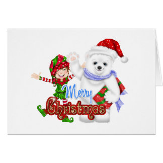 Merry Christmas Elf Bear Greeting Card