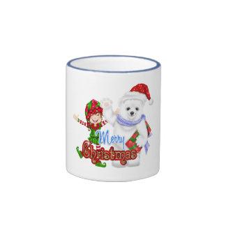 Merry Christmas Elf Bear Mug