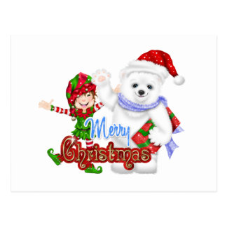 Merry Christmas Elf Bear Postcard
