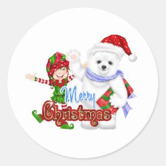 Merry Christmas Elf Bear Round Sticker