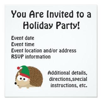 Merry Christmas! Elf Hedgehog scene 5.25x5.25 Square Paper Invitation Card