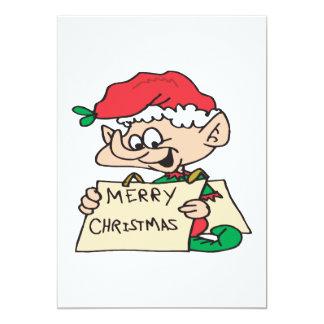 Merry Christmas Elf 5x7 Paper Invitation Card