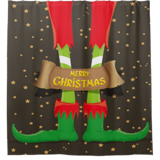 Merry Christmas Elf Legs Shower Curtain