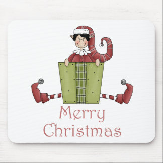 Merry Christmas Elf Mouse Pad