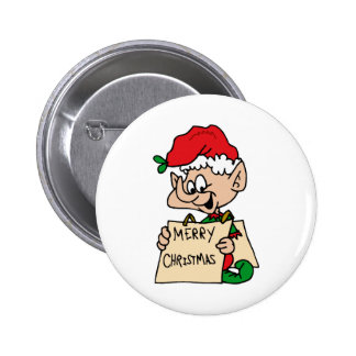 Merry Christmas Elf Pinback Buttons