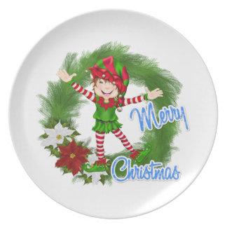 Merry Christmas Elf Plates