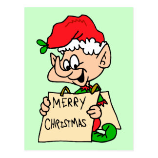 Merry Christmas Elf Postcard
