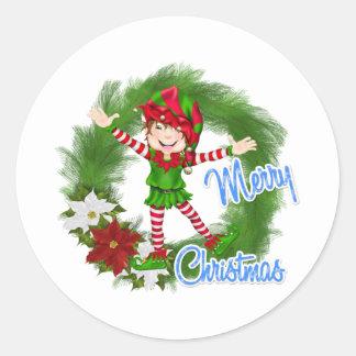 Merry Christmas Elf Round Sticker