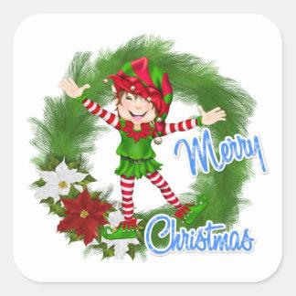 Merry Christmas Elf Square Sticker
