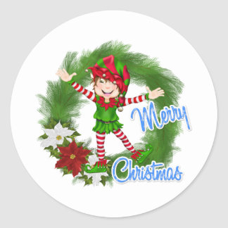 Merry Christmas Elf Stickers