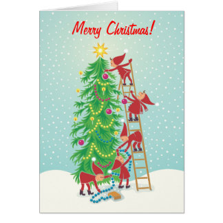 Merry Christmas Elfs Greeting Card