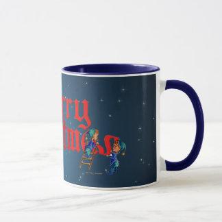 MERRY CHRISTMAS ELVES and STARS by SHARON SHARPE Mug
