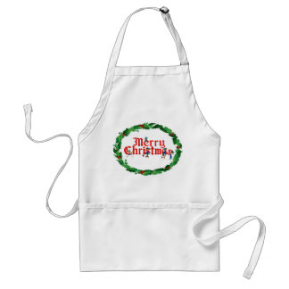 MERRY CHRISTMAS ELVES & HOLLY by SHARON SHARPE Standard Apron