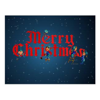 MERRY CHRISTMAS ELVES & STARS by SHARON SHARPE Postcard