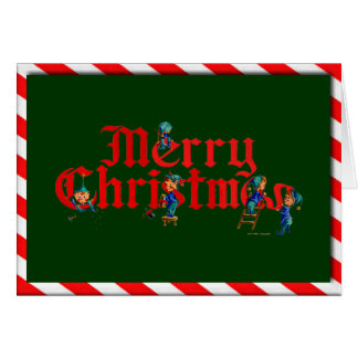 MERRY CHRISTMAS ELVES & STRIPES by SHARON SHARPE Card