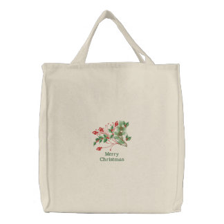 Merry Christmas embroidered holly canvas tote bag