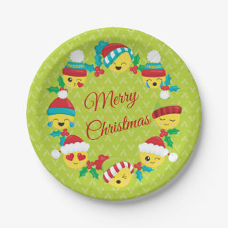 Merry Christmas Emoji Wreath Paper Plate
