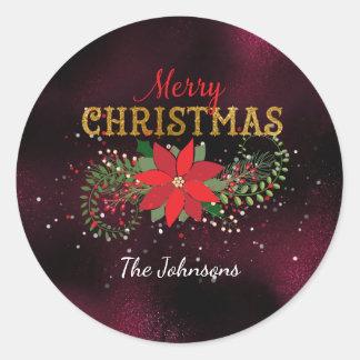 Merry Christmas English Caffe Noir Glass Round Sticker